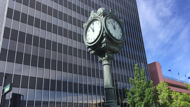 A historic E. Howard Co. street clock sits at First and Virginia streets in downtown Reno outside City Hall on May 19. It shows 11 o'clock while it awaits repair.