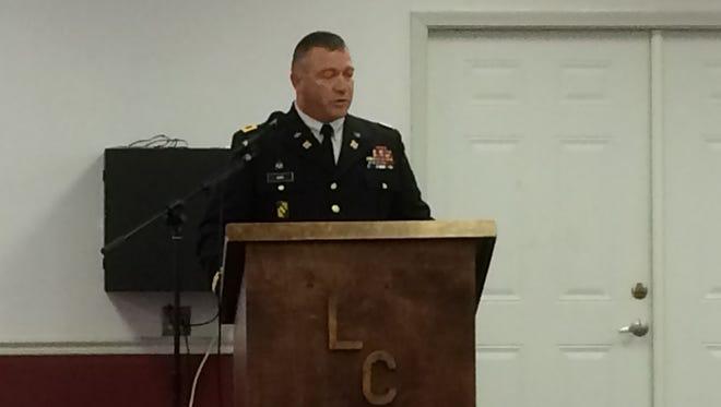 Col. William H. King IV of Petal speaks during the Veterans Day program Friday at Ben Barrett Community Center in Lumberton.