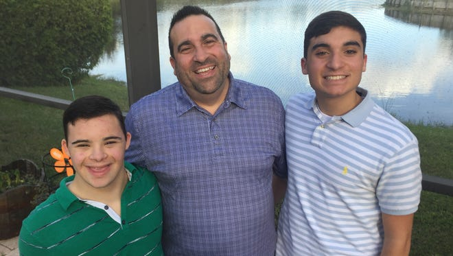 """The Ciocca  of Bonita Springs has formed the first ever chapter of """"Fantastic Friends,"""" a nonprofit organization that pairs special needs teens and young adults with peers for social events. From left are Christian, 17, father John, and 16-year-old John."""