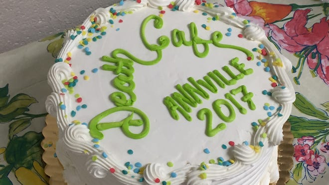 The Death Cafe cake was the feature refreshment at the Death Cafe held at the Annville Free Library Saturday.