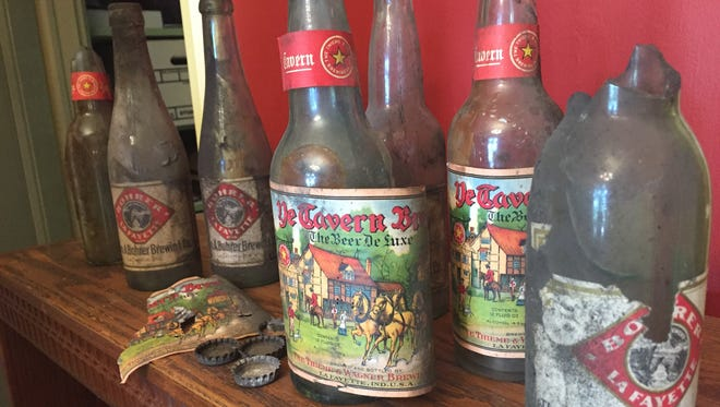 Bottles from early 20th century Lafayette breweries were among the historic bits and pieces turning up during the renovation of the Moses Fowler House at Ninth and South streets. These bottles, found in a dropped ceiling in the Fowler House basement were from Thieme & Wagner and Bohrer breweries in Lafayette.