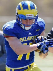 Delaware wide receiver Ricky Emerson takes part in drills during a spring practice at Smyrna High School Saturday.