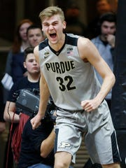 Matt Haarms of Purdue reacts after blocking a shot by Evan Taylor of Nebraska Saturday, January 6, 2018, at Mackey Arena.