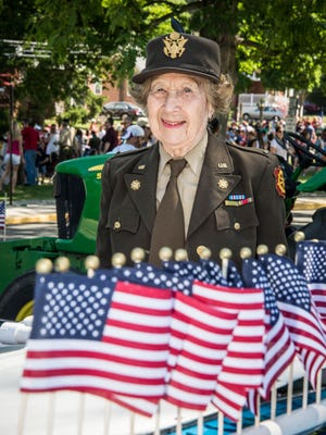 In 2010, Grand Marshal Beverly Rosenstein at the Hillsdale Memorial Day Parade.