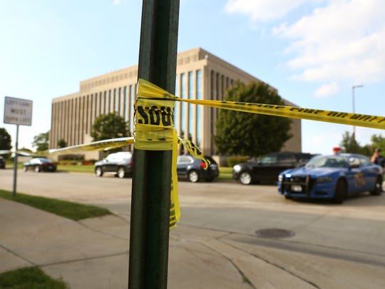 The Berrien County Courthouse is cordoned off as Michigan