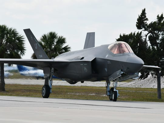 Two Lockheed Martin F-35 Lightning II Joint Strike Fighters arrived Thursday for this weekend's Melbourne Air & Space Show at the Orlando Melbourne International Airport.