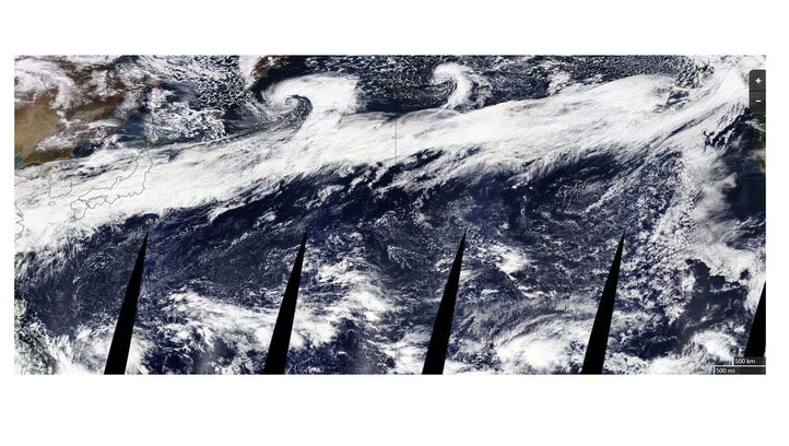 An atmospheric river that stretches from Asia to North