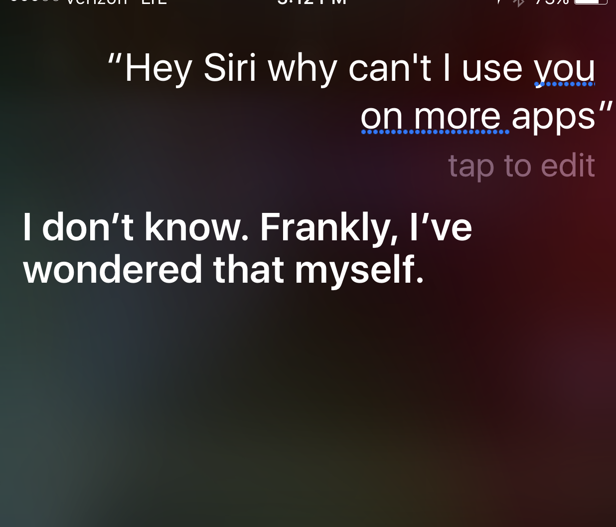 Screenshot of Siri on iPhone