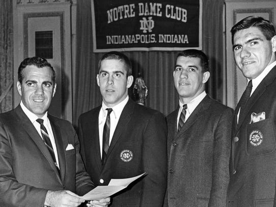 Notre Dame football coach Ara Parseghian (left) is