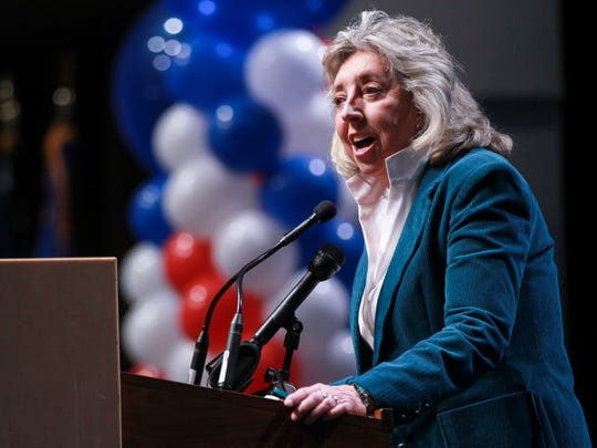 Rep. Dina Titus, D-Nev., speaks to supporters after her victory at an election watch party in Las Vegas, Tuesday, Nov. 8, 2016.