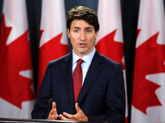 Canadian Prime Minister Justin Trudeau speaks during