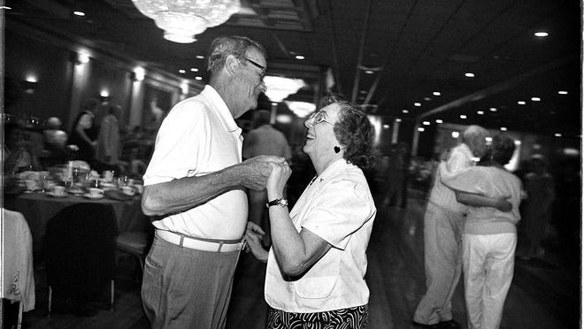 """A 1997 photo from the Journal column """"Our Times"""" shows widower Bob Ruest dancing at the Venus with his date, Lena Watters. Former acquaintances who were reintroduced years later, they danced there almost seven days a week, sometimes twice a day."""