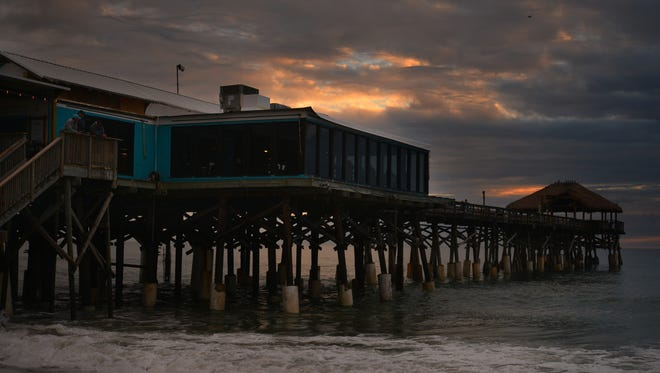 The first sunrise of 2018 as seen from the Cocoa Beach Pier.