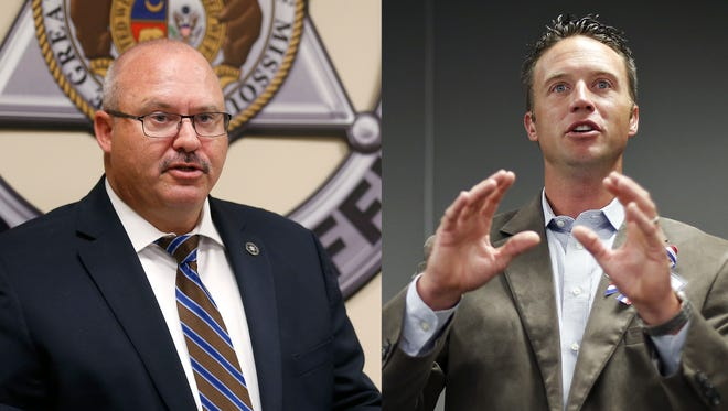 Greene County Sheriff Jim Arnott, left, and County Commissioner Lincoln Hough, right.