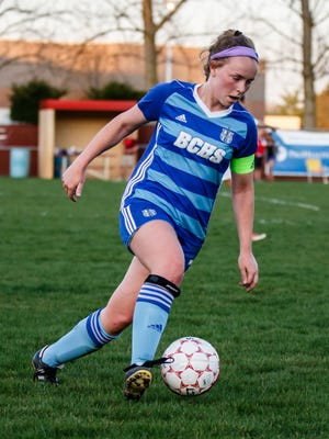 Brookfield Central senior Emma Staszkiewicz (7) takes control midfield during the game at Arrowhead on Saturday, May 5, 2018.
