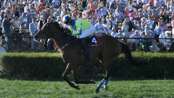 Scorpiancer crosses the finish line during The Calvin Houghland Iroquis at the Iroquois Steeplechase, May 13, 2017, in Nashville, Tenn..