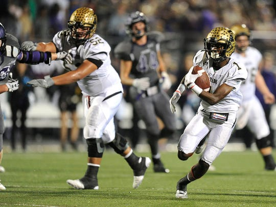 Abilene High wide receiver Raekwon Millsap (1) runs