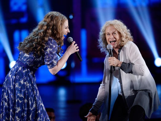 Carole King, right, joins Jessie Mueller to perform 'I Feel the Earth Move' from 'Beautiful: The Carole King Musical' during the Tony Awards.