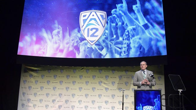 Jul 24, 2019; Los Angeles, CA, USA; Pax-12 commissioner Larry Scott speaks during Pac-12 football media day at Hollywood & Highland. Mandatory Credit: Kirby Lee-USA TODAY Sports
