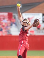 UL's Alyssa Denham delivers a pitch against Baylor