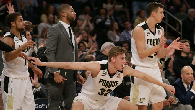 Mar 3, 2018; New York, NY, USA; Purdue Boilermakers forward Matt Haarms (32) reacts during the second half against the Penn State Nittany Lions in a semifinal game of the 2018 Big Ten Tournament at Madison Square Garden. Mandatory Credit: Nicole Sweet-USA TODAY Sports