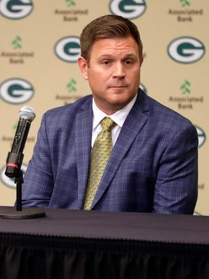 Brian Gutekunst addresses media after being named general manager for the Green Bay Packers on Jan. 8, 2018 at Lambeau Field.