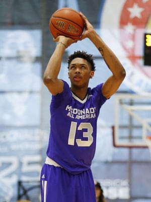 Brandon Ingram of Kinston, N.C. competes in the three-point shootout during the McDonald's All-America Jam Fest on March 30, 2015, in Chicago.