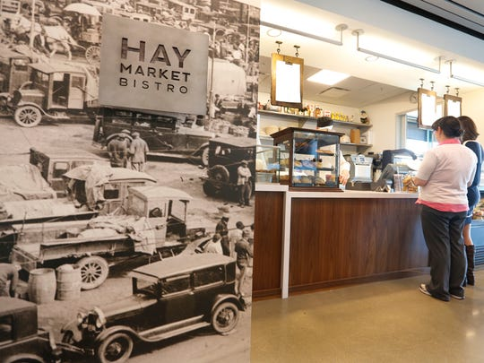 Historic photographs adorn the walls in the Haymarket