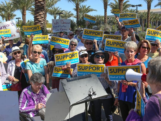 A group of supporters of the End Of Life Option Act