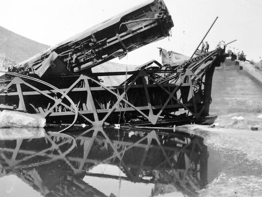 The wreckage of the City of San Francisco passenger train that crashed west of Carlin on Aug. 12, 1939 killing 24 and injuring 121 others.