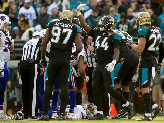 JACKSONVILLE, FL - JANUARY 07: Myles Jack #44 of the Jacksonville Jaguars reacts after Tyrod Taylor #5 of the Buffalo Bills is injured during AFC Wild Card playoff game  at EverBank Field on January 7, 2018 in Jacksonville, Florida.  (Photo by Mike Ehrmann/Getty Images)