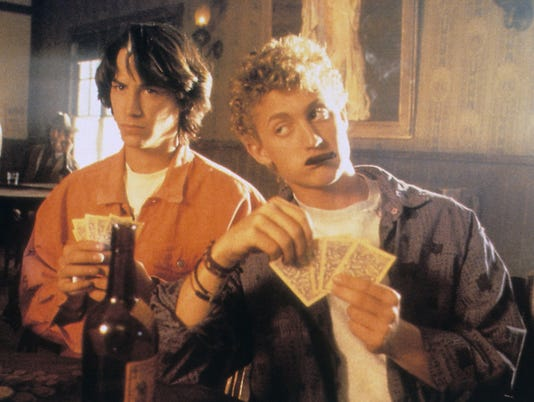 BILL AND TED'S EXCELLENT ADVENTURE, from left: Keanu Reeves, Alex Winter, 1989, © Orion/courtesy Eve