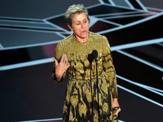 Frances McDormand accepts the Academy Award for Best