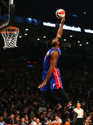 Andre Drummond of the Detroit Pistons dunks in the Verizon Slam Dunk Contest during NBA All-Star Weekend 2016 at Air Canada Centre on February 13, 2016 in Toronto, Canada.
