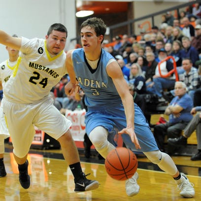 Adena's Zach Fout drives to the basket during the second