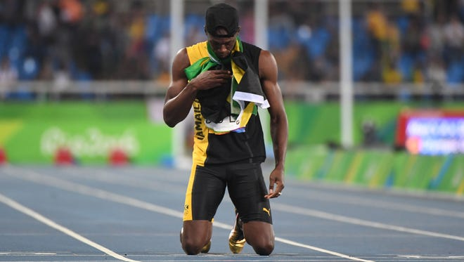 Usain Bolt (JAM) after winning the men's 4x100m relay final in the Rio 2016 Summer Olympic Games at Estadio Olimpico Joao Havelange.