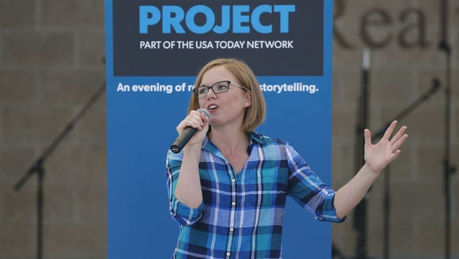 Des Moines Register reporter Mackenzie Ryan hosted Saturday's Des Moines Storytellers Project at the Iowa State Fair in Des Moines.