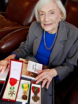 Marthe Cohn with the medals awarded her by the French military for her service during WWII.