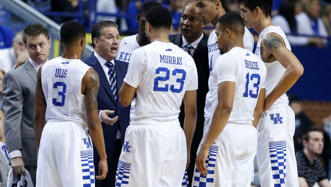 Nov 14, 2015; Lexington, KY, USA; Kentucky Wildcats head coach John Calipari coaches his players against the NJIT Highlanders in the first half at Rupp Arena. Mandatory Credit: Mark Zerof-USA TODAY Sports