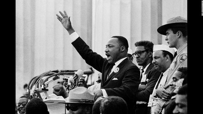 """Martin Luther King Jr. gives his """"I Have a Dream"""" speech from the steps of the Lincoln Memorial in August 1963."""