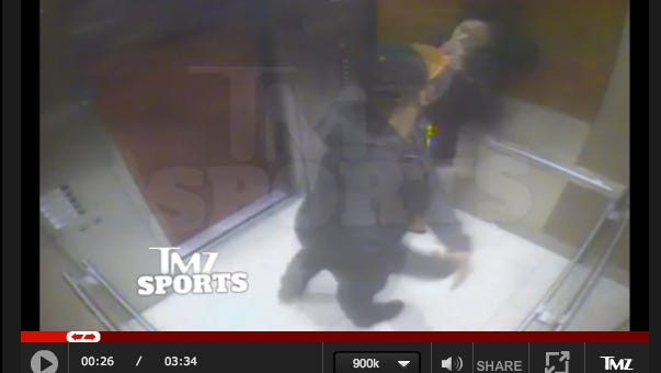 This video from TMZ.com purports to show Ray Rice hitting his then fiancee in an Atlantic City elevator.