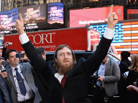 Daniel Bryan walks the red carpet leading into the 2014 WrestleMania XXX news conference at the Hard Rock Cafe in New York.