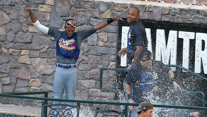 After the Dodgers clinched the NL West title, some players celebrated in the pool at the Diamondbacks home field.