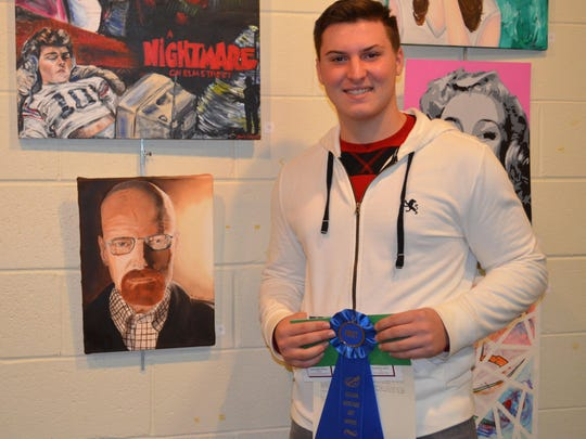 """Nicholas Lonetta, 16, of Williamstown, a student at St. Augustine Prep, won Best of Show in the Italian Heritage Art Show with his oil painting titled """"Heisenberg."""""""