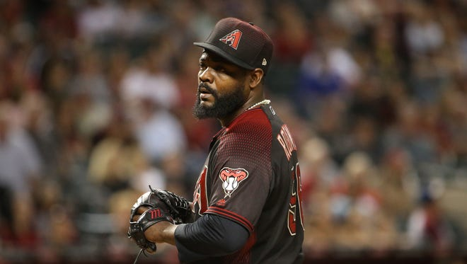 Diamondbacks Fernando Rodney (56) reacts to a wild pitch blowing the save which allowed the Rockies to take a 7-6 lead in the top of the ninth inning at Chase Field in Phoenix, Ariz. on April 29, 2017.