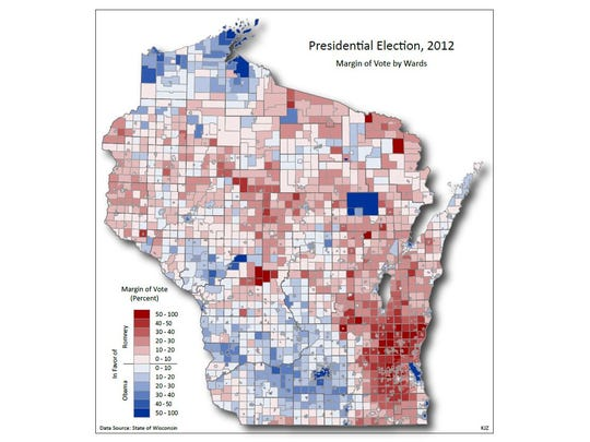 Results by ward of the 2012 presidential election between Democrat Barack Obama and Republican Mitt Romney.
