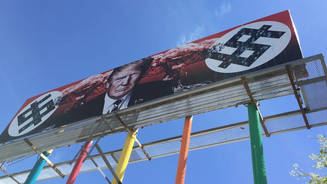 An anti-Donald Trump billboard in downtown Phoenix has been vandalized twice within a week, police said.