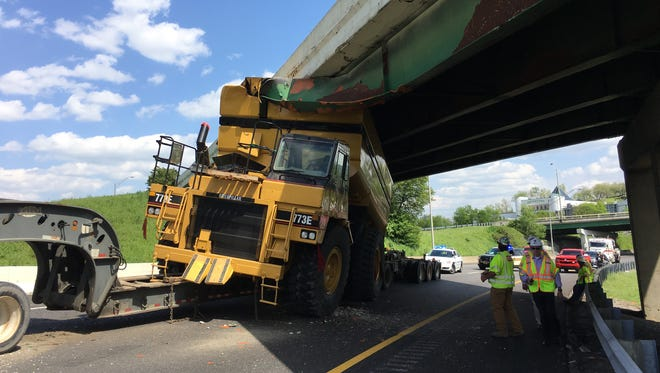 An oversized load on a truck on Interstate 65 hit the Interstate 40 East overpass in downtown Nashville.