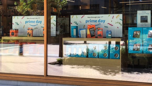 The window at the Amazon bookstore in Walnut Creek,