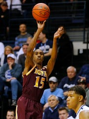 Deyshonee Much attempts a shot against Monmouth on February 19, 2016.